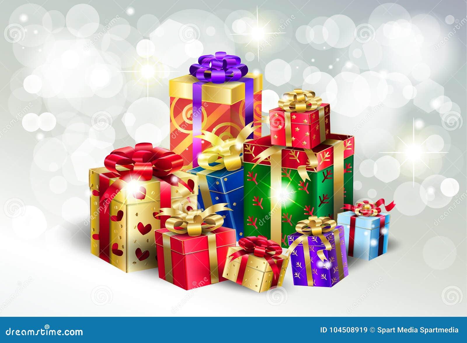 Christmas Gift Boxes Silver Bokeh Lights Wallpaper Stock Vector Illustration Of Event Fireworks 104508919