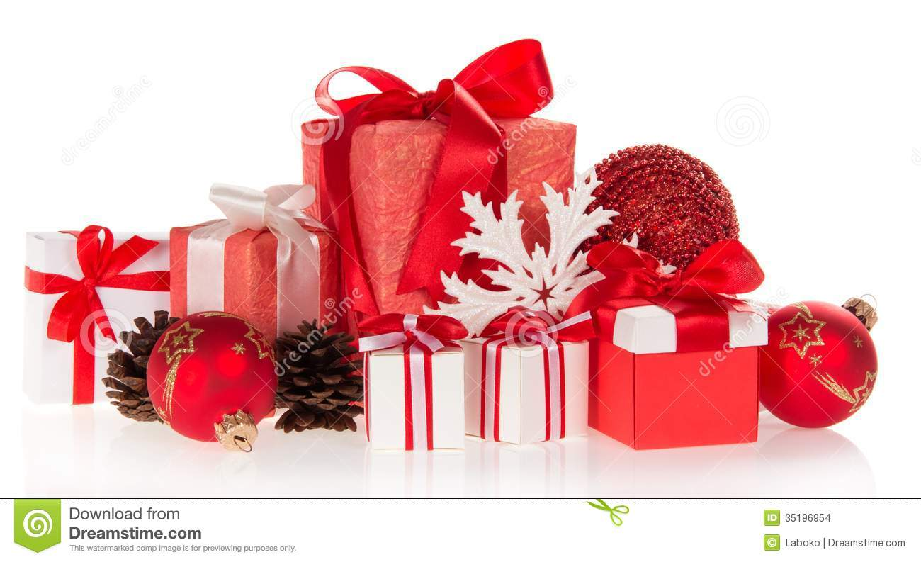 Gift Boxes, Snowflakes And Pine Cones Stock Photo - Image of light ...
