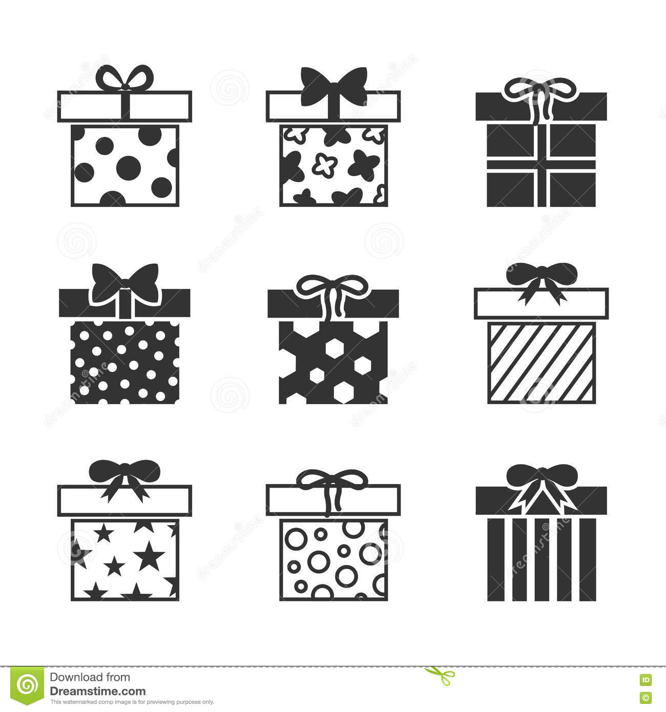 Gift Boxes Vector Icons Set In Black And White Stock Vector