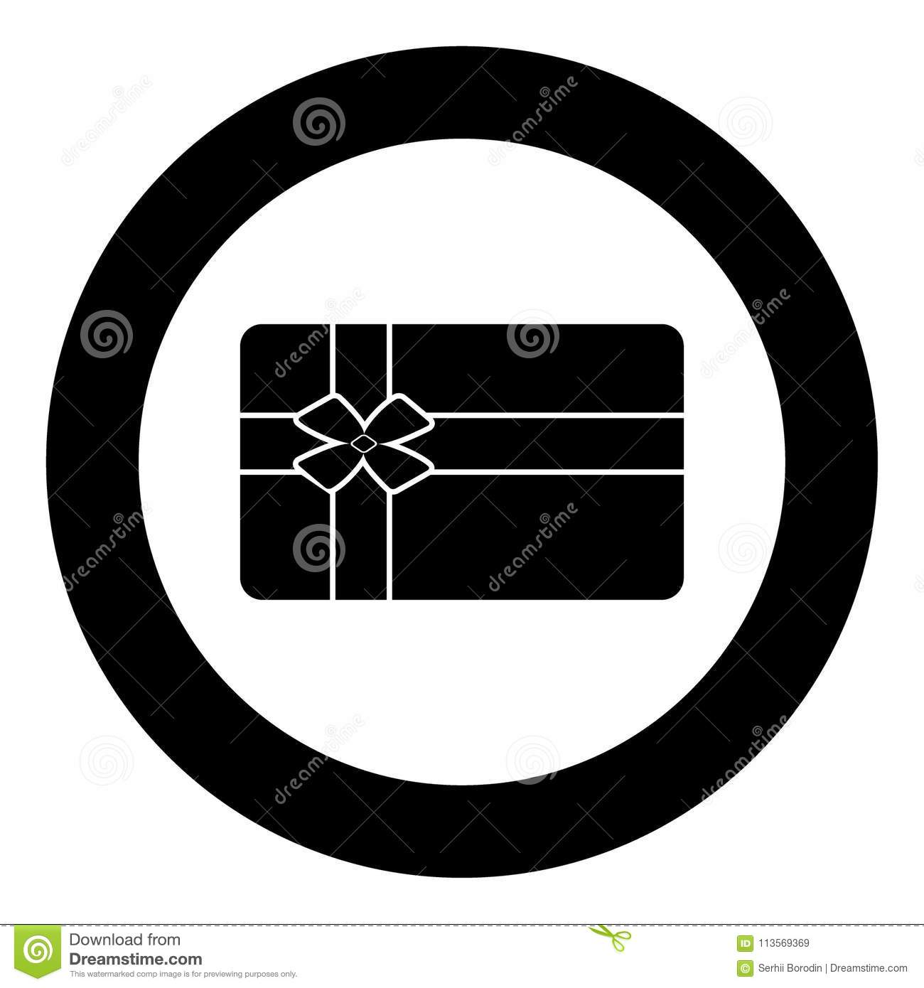 Gift Card Black Icon In Circle Stock Vector - Illustration ...