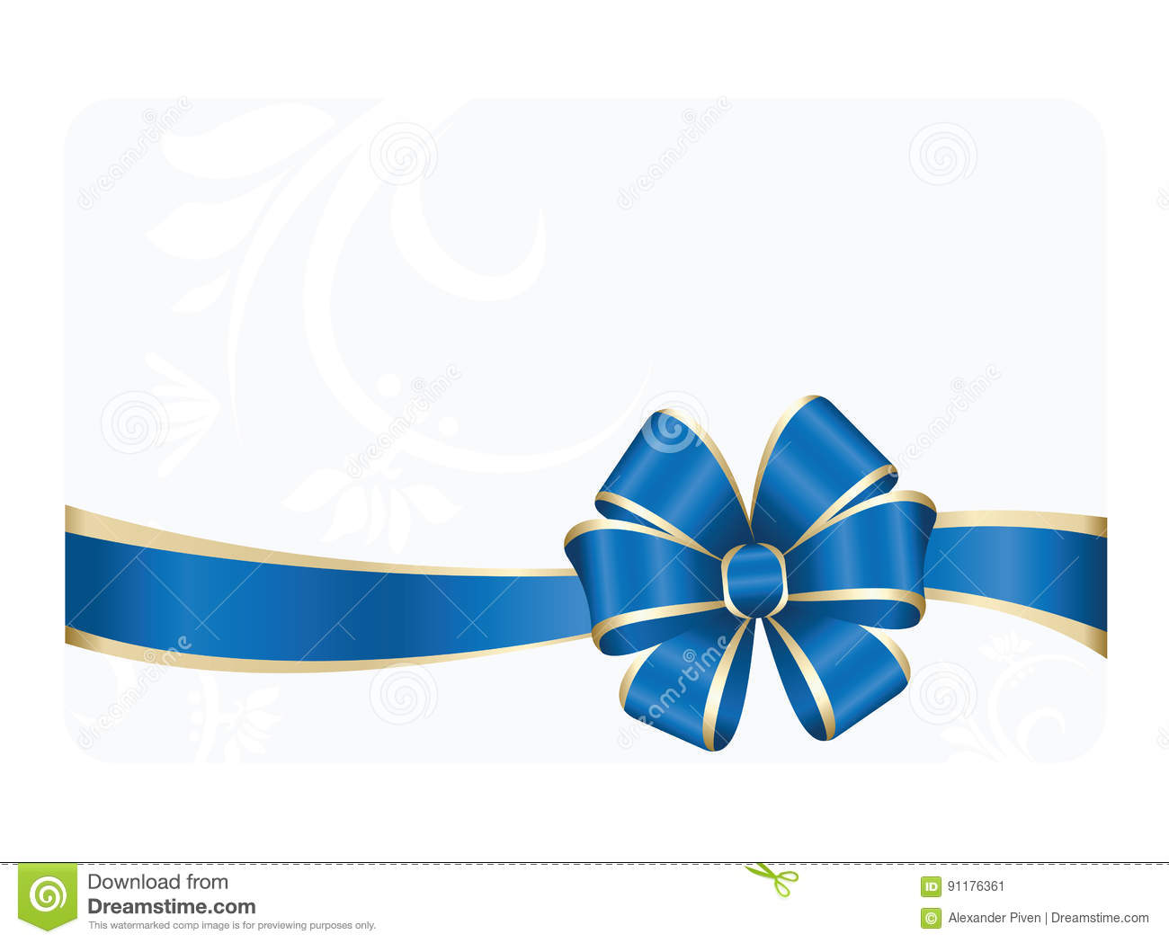 gift card with blue ribbon and a bow stock vector