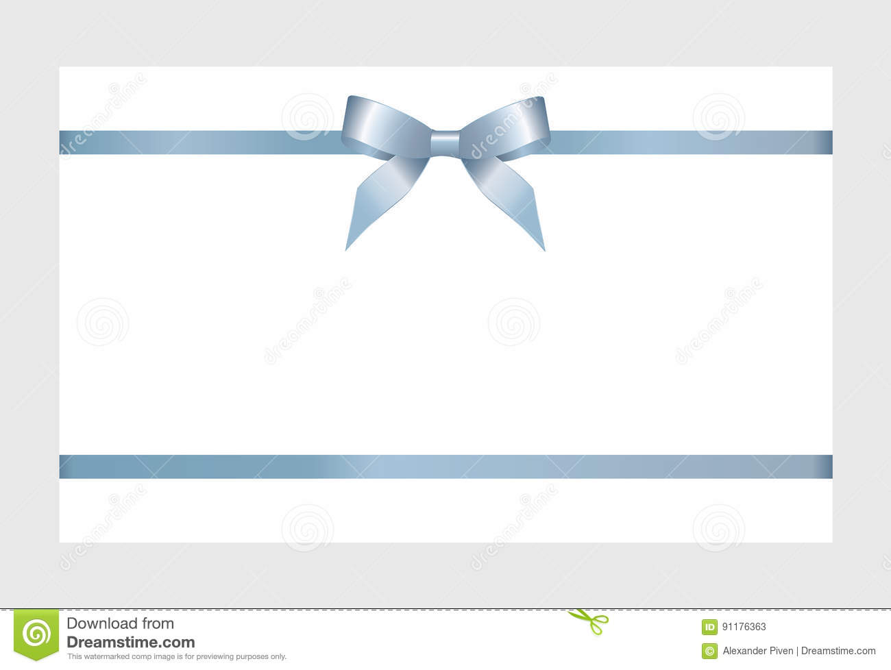 gift card with blue ribbon and a bow stock vector illustration of
