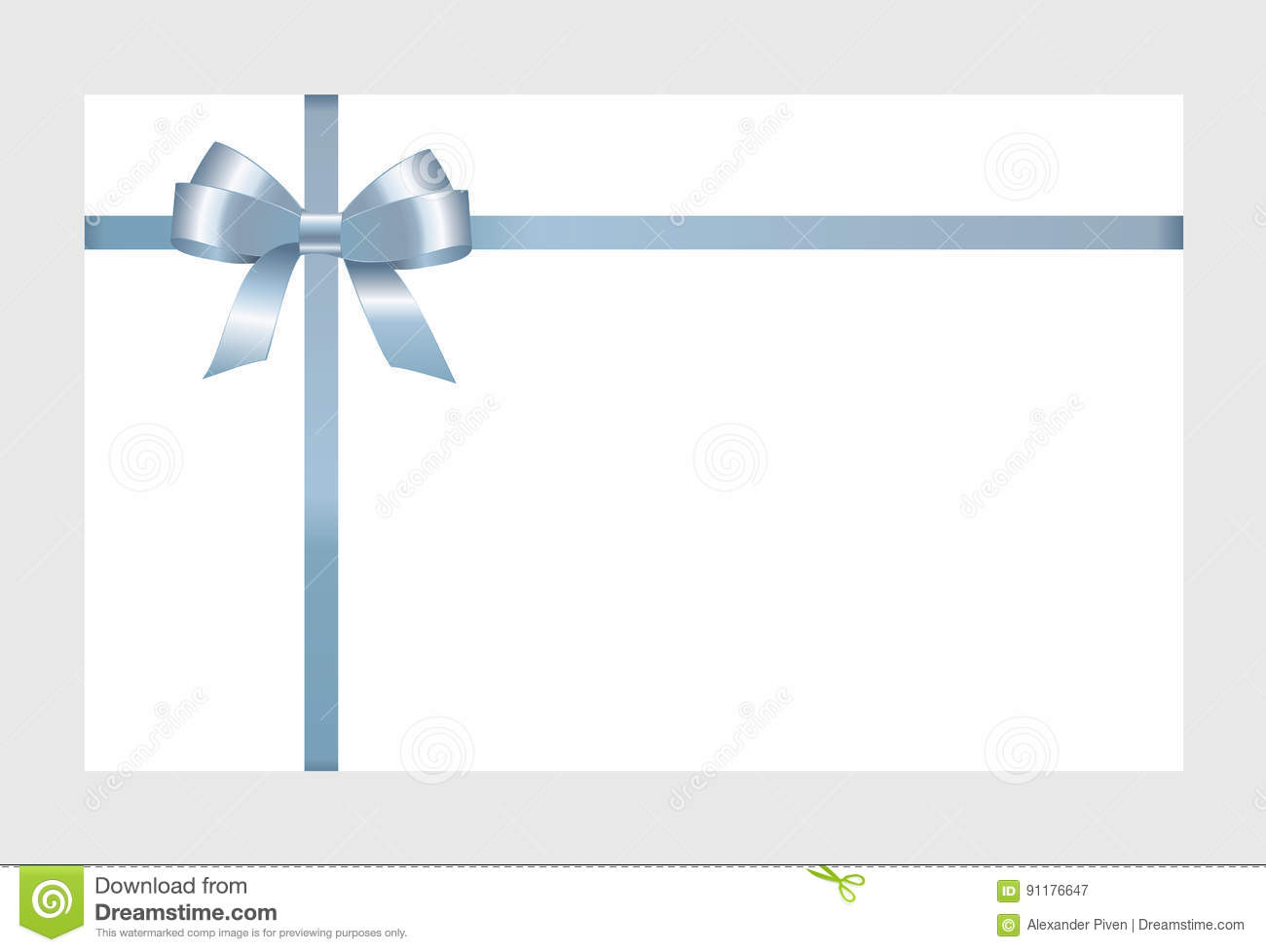 Gift card with blue ribbon and a bow stock vector image 91176647 gift card with blue ribbon and a bow pronofoot35fo Gallery