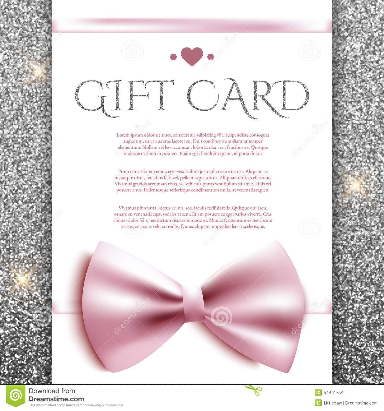 gift card with bow on silver glitter background stock