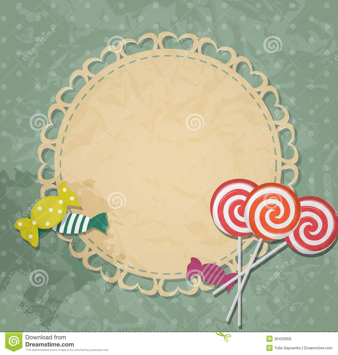 gift card with candy design elements vector stock illustration
