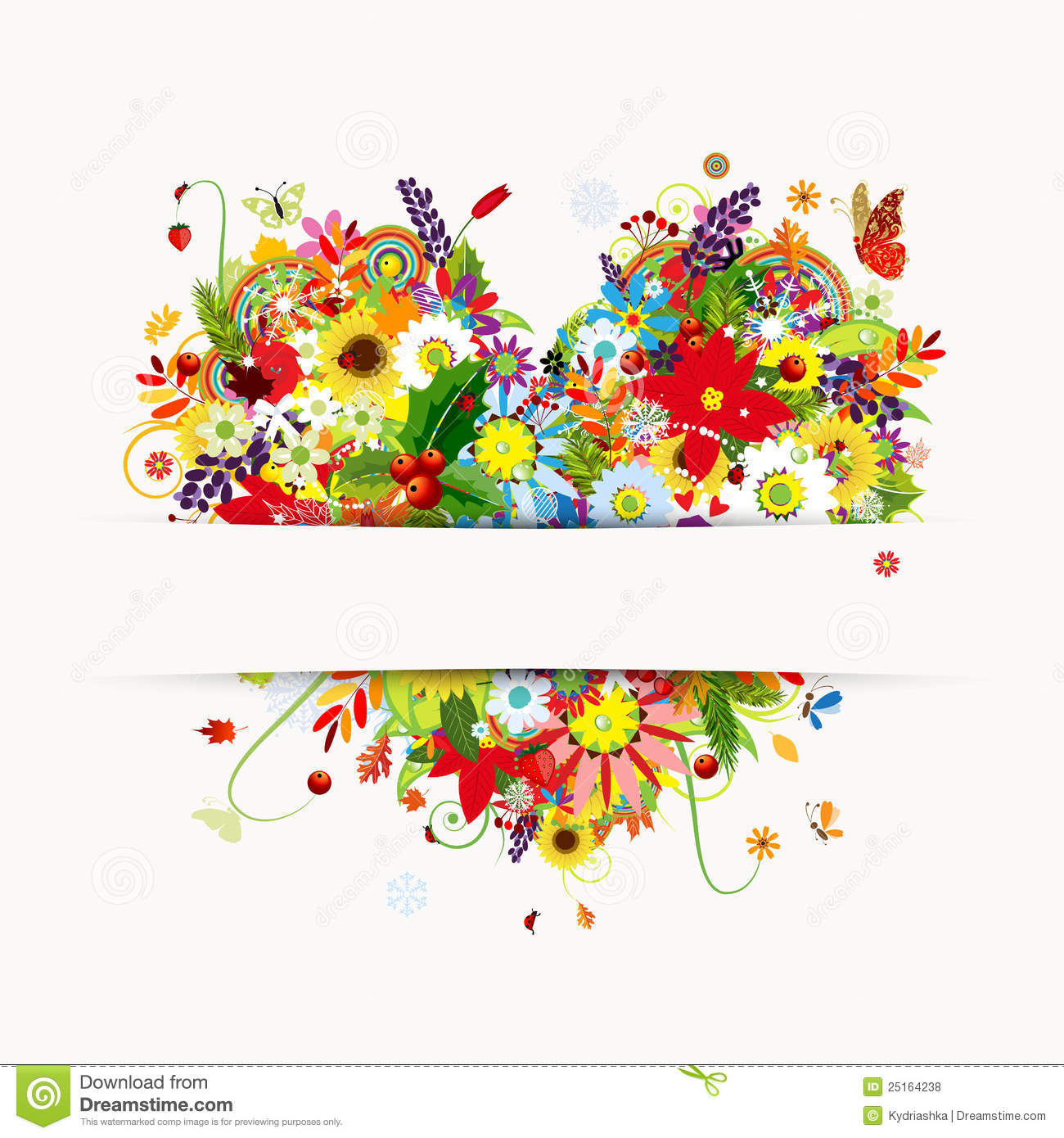 ... Floral Heart, Four Seasons Royalty Free Stock Photos - Image: 25164238