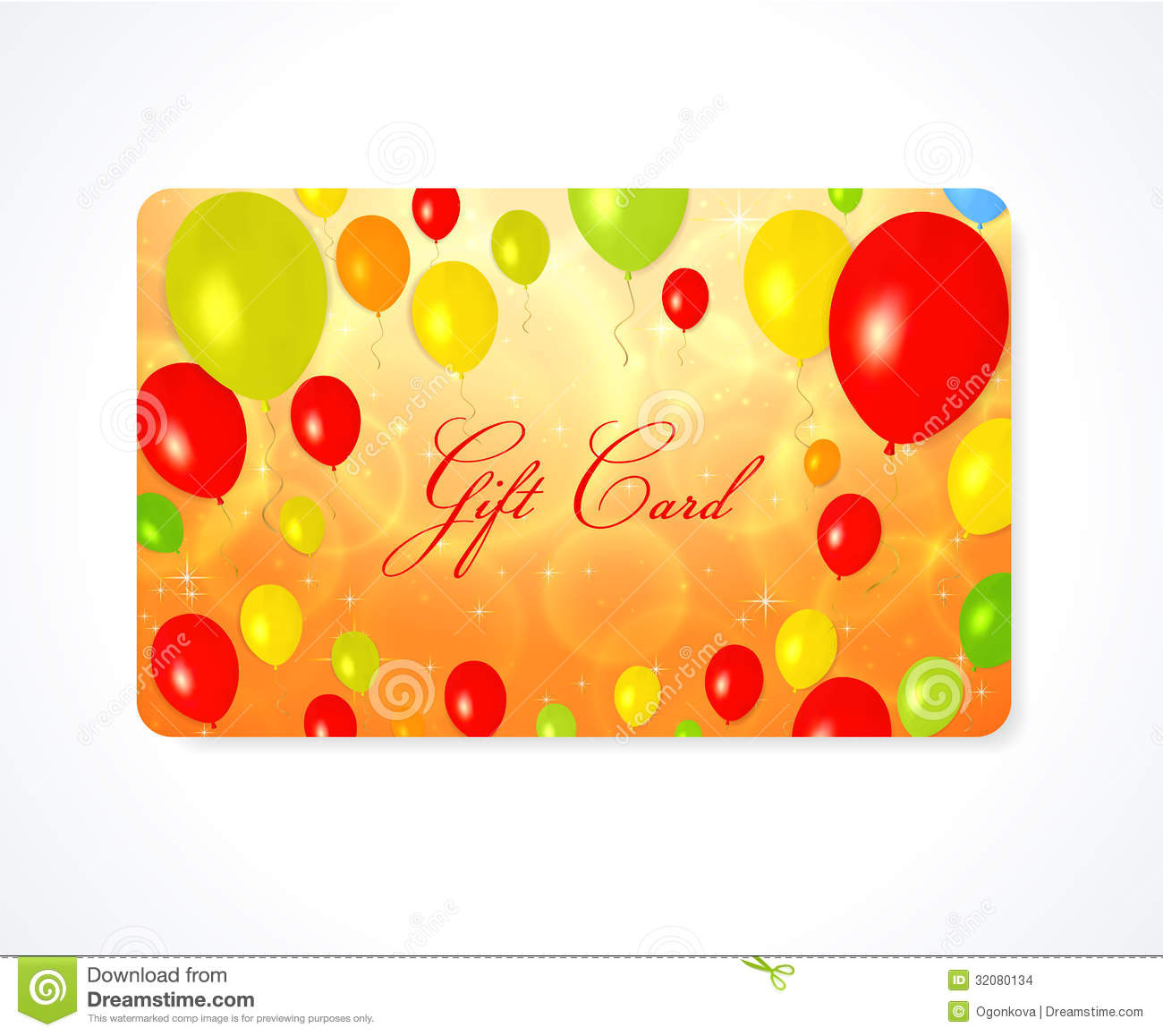 Gift Card / Discount Card / Business Card. Balloon Stock Vector ...