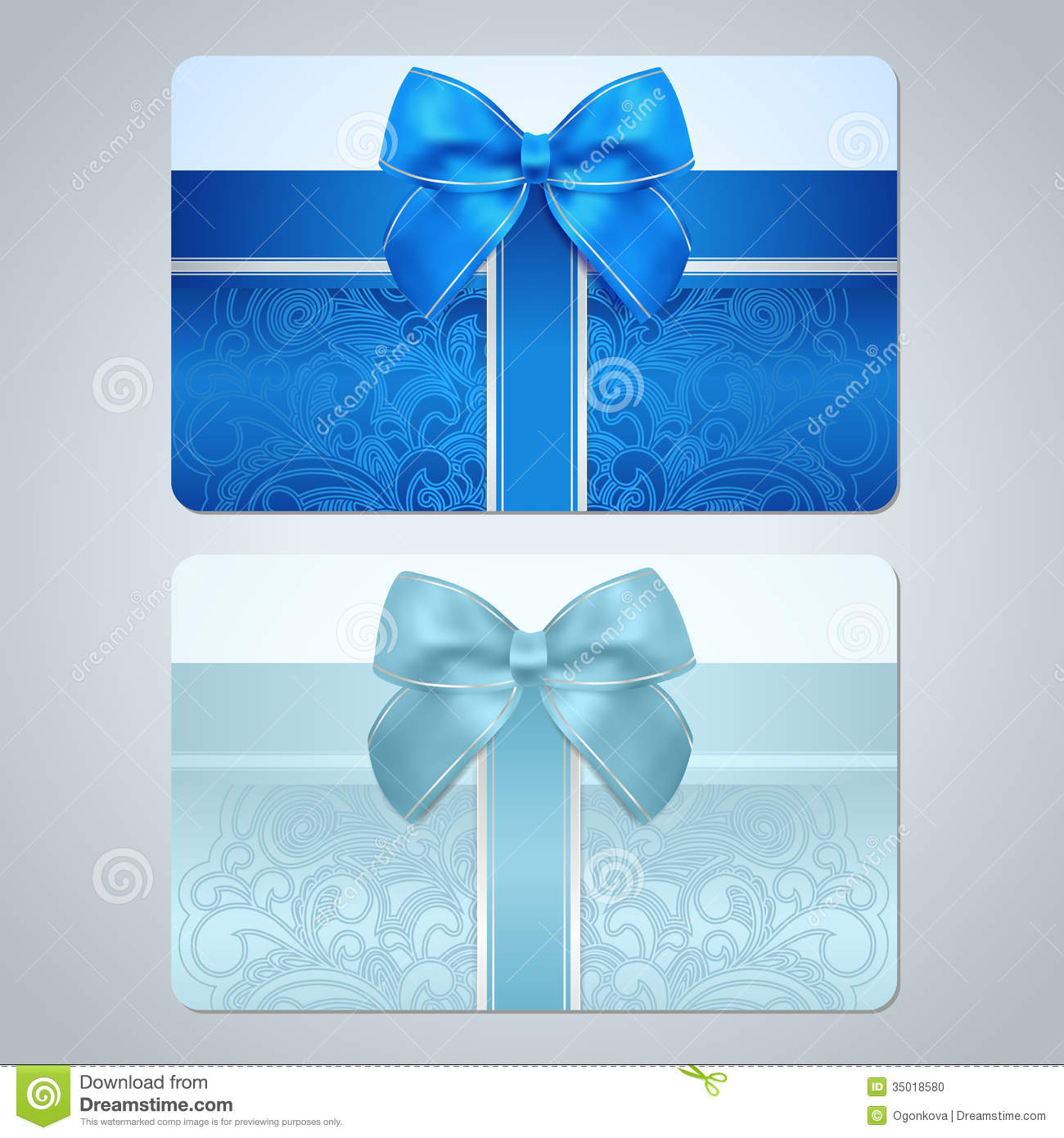 Gift Card / Discount Card. Scroll Pattern, Bow Stock Vector ...
