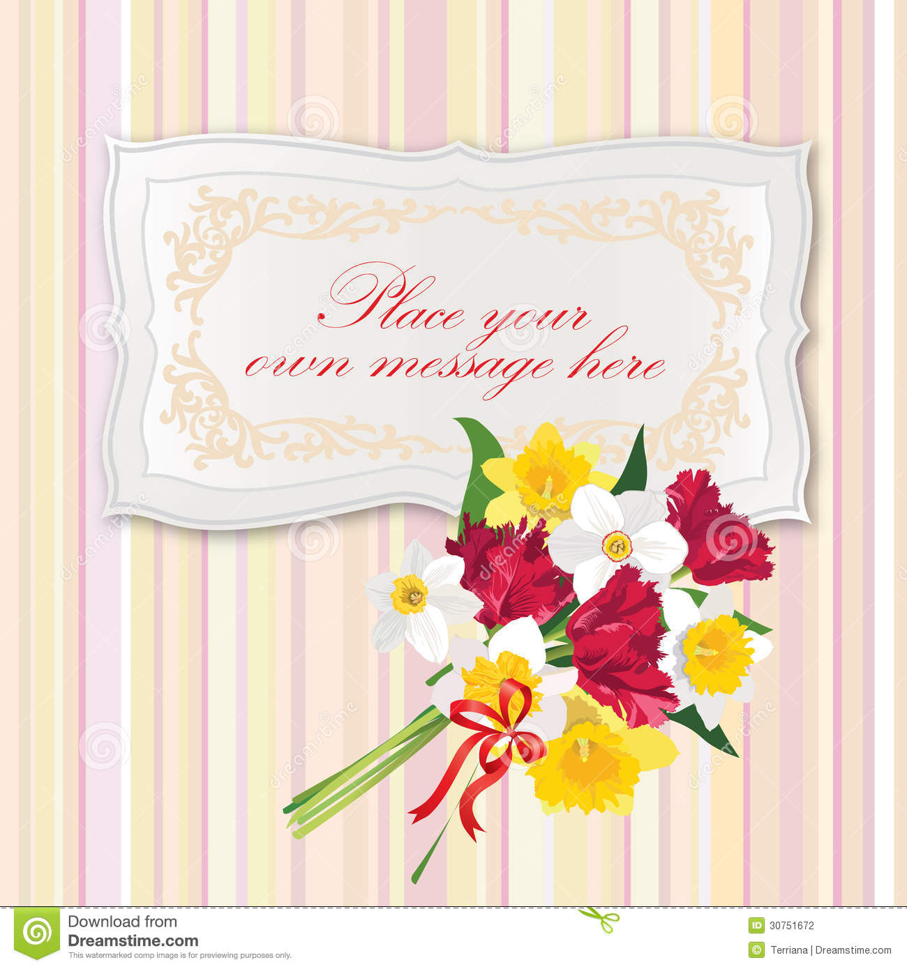 gift card with flower bouquet stock vector  illustration