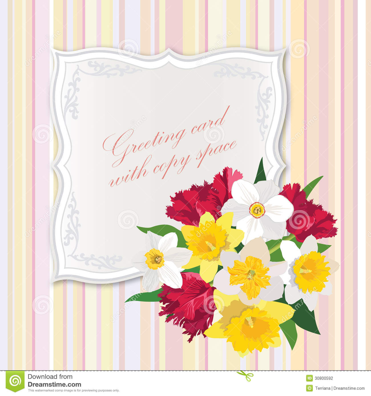 gift card with flower bouquet stock illustration