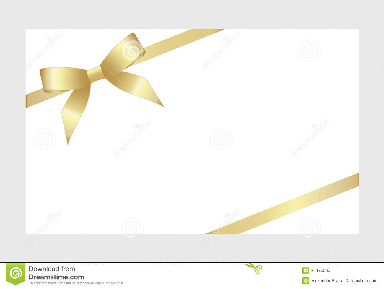gift card with gold ribbon and a bow stock vector illustration of