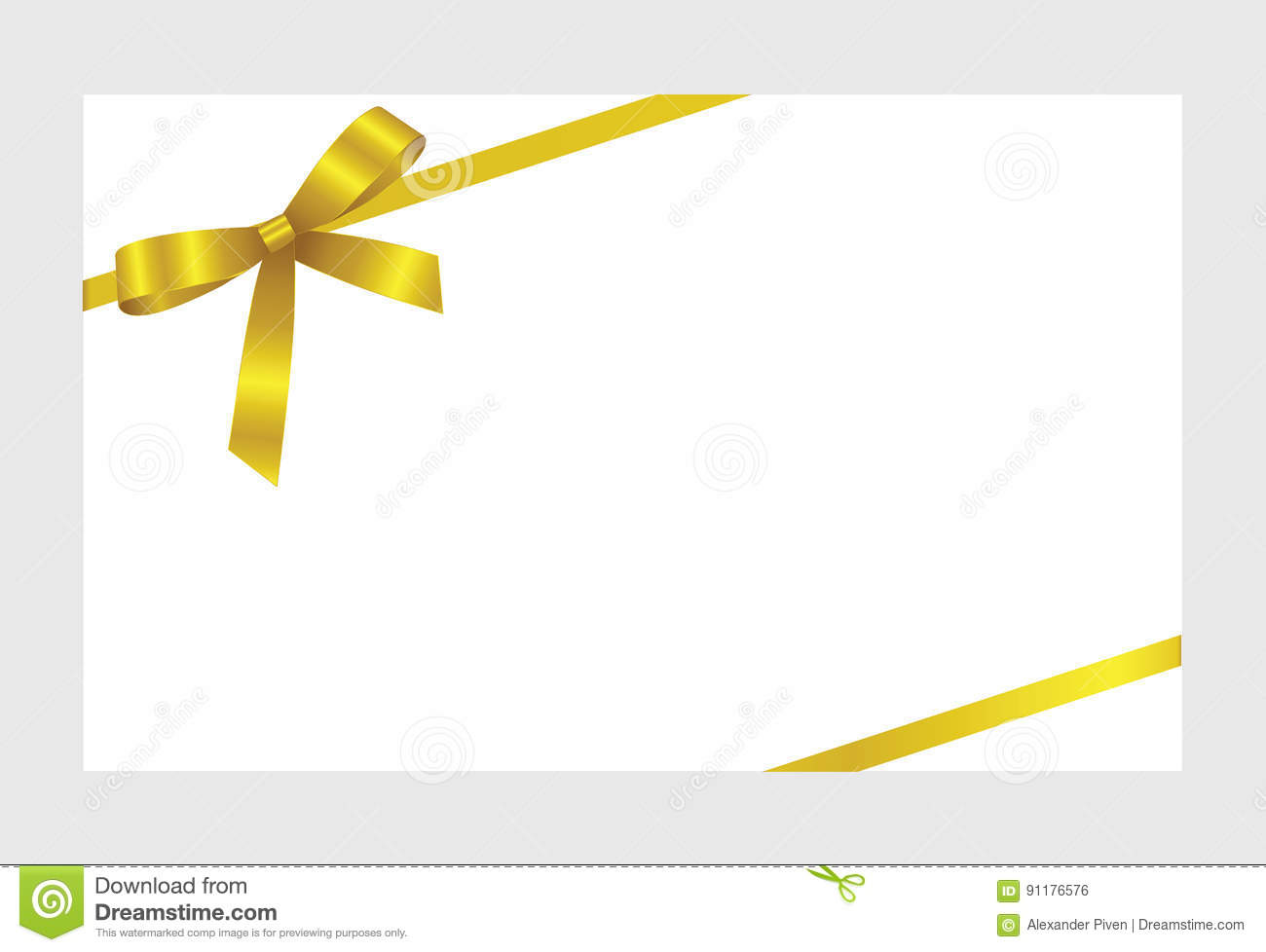 Gift card with gold ribbon and a bow stock vector image 91176576 gift card with gold ribbon and a bow pronofoot35fo Gallery