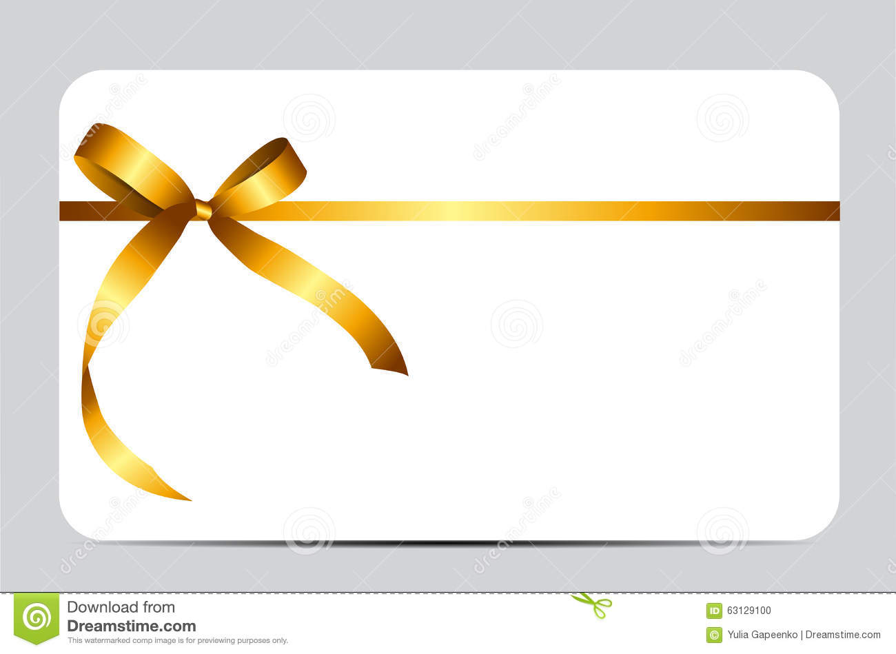 Gift Card With Gold Ribbon And Bow Vector Stock Vector