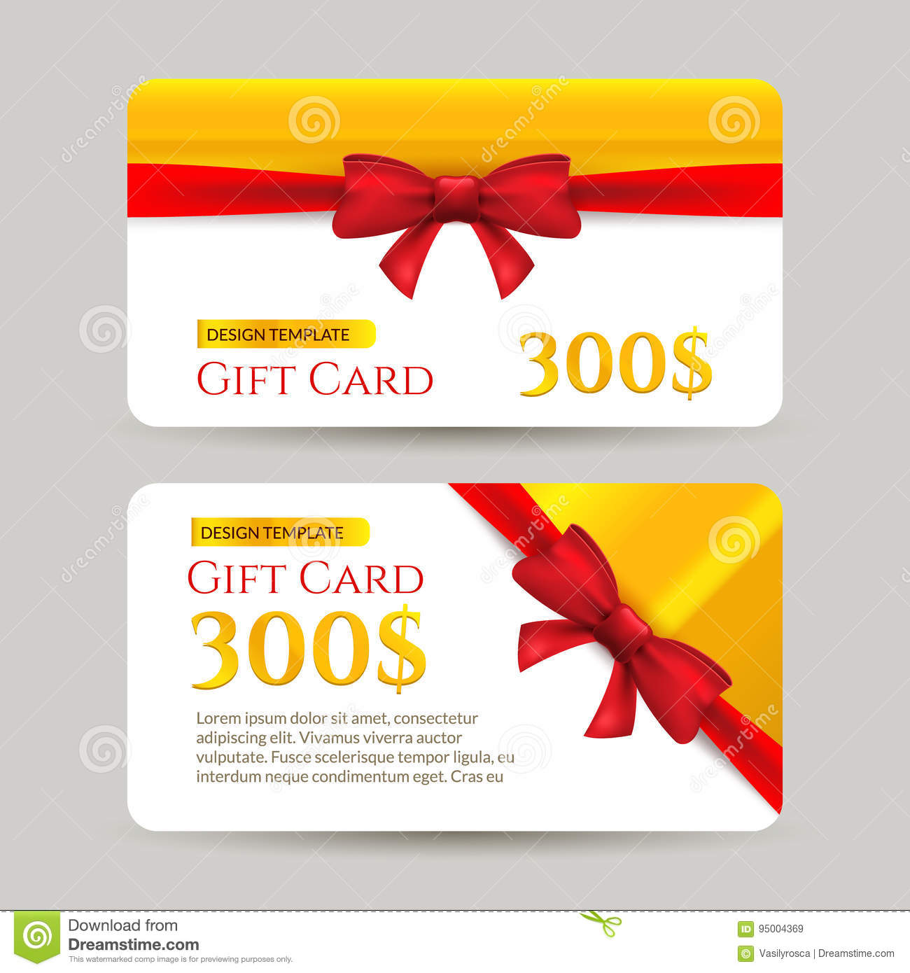 Gift Card With Golden Element And Bow Gift Card Template Design