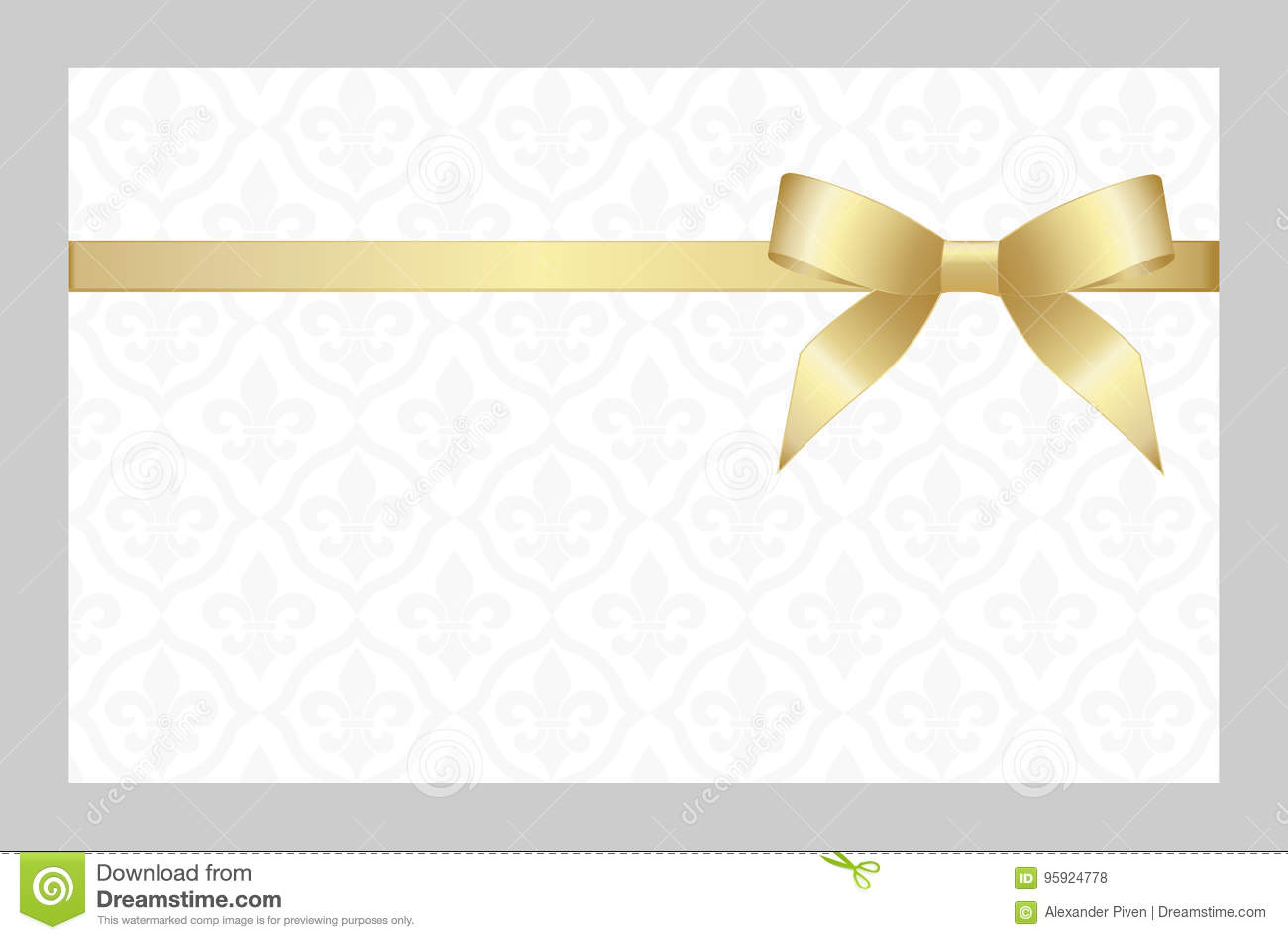 gift card with golden ribbon and a bow invitation vector image