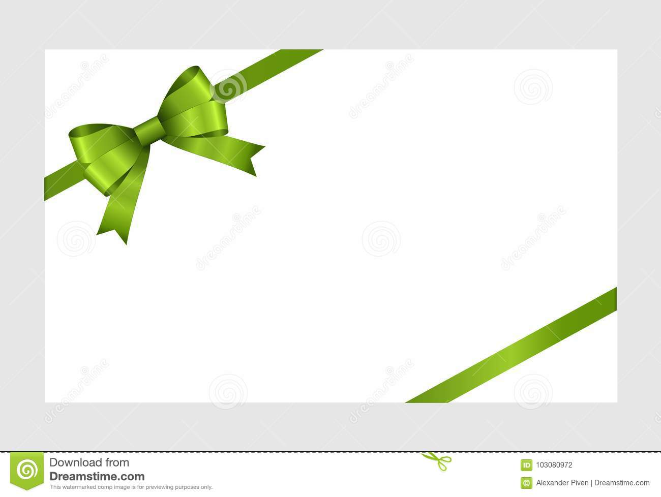 gift card with green ribbon and a bow on white background