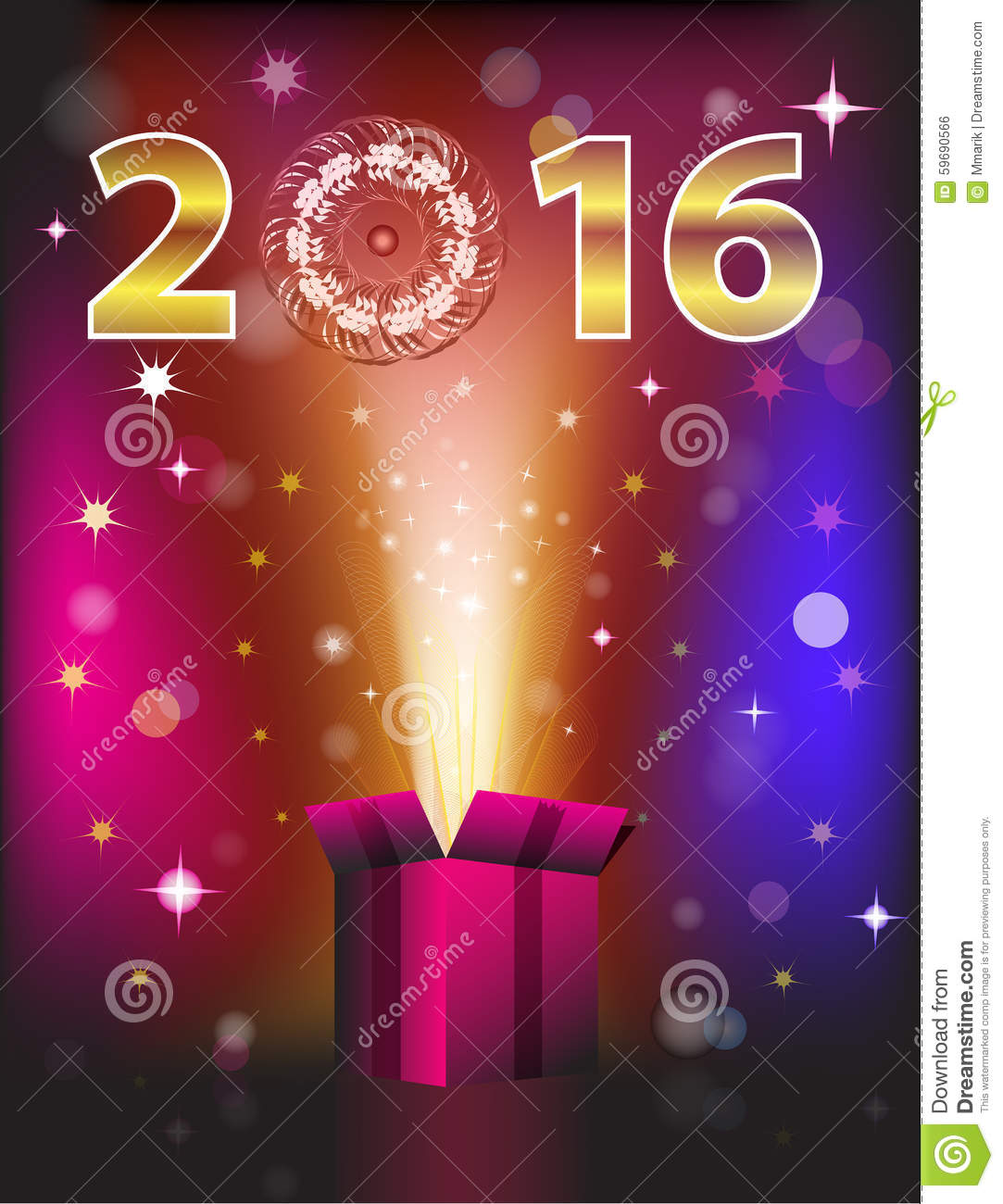 magical gift card for 2016 new year vector illustration
