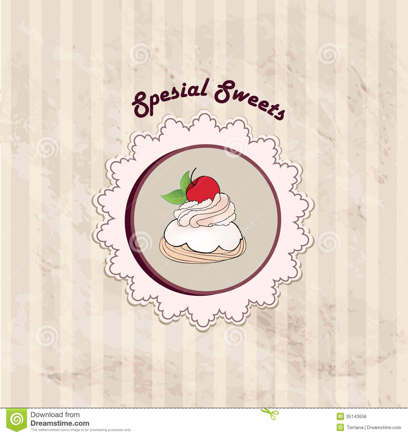 Gift Card With Pastry. Muffin On Napkin In Retro Style Over Polka