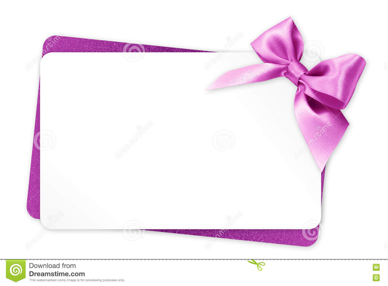 Gift Card With Pink Ribbon Bow Isolated On White Stock