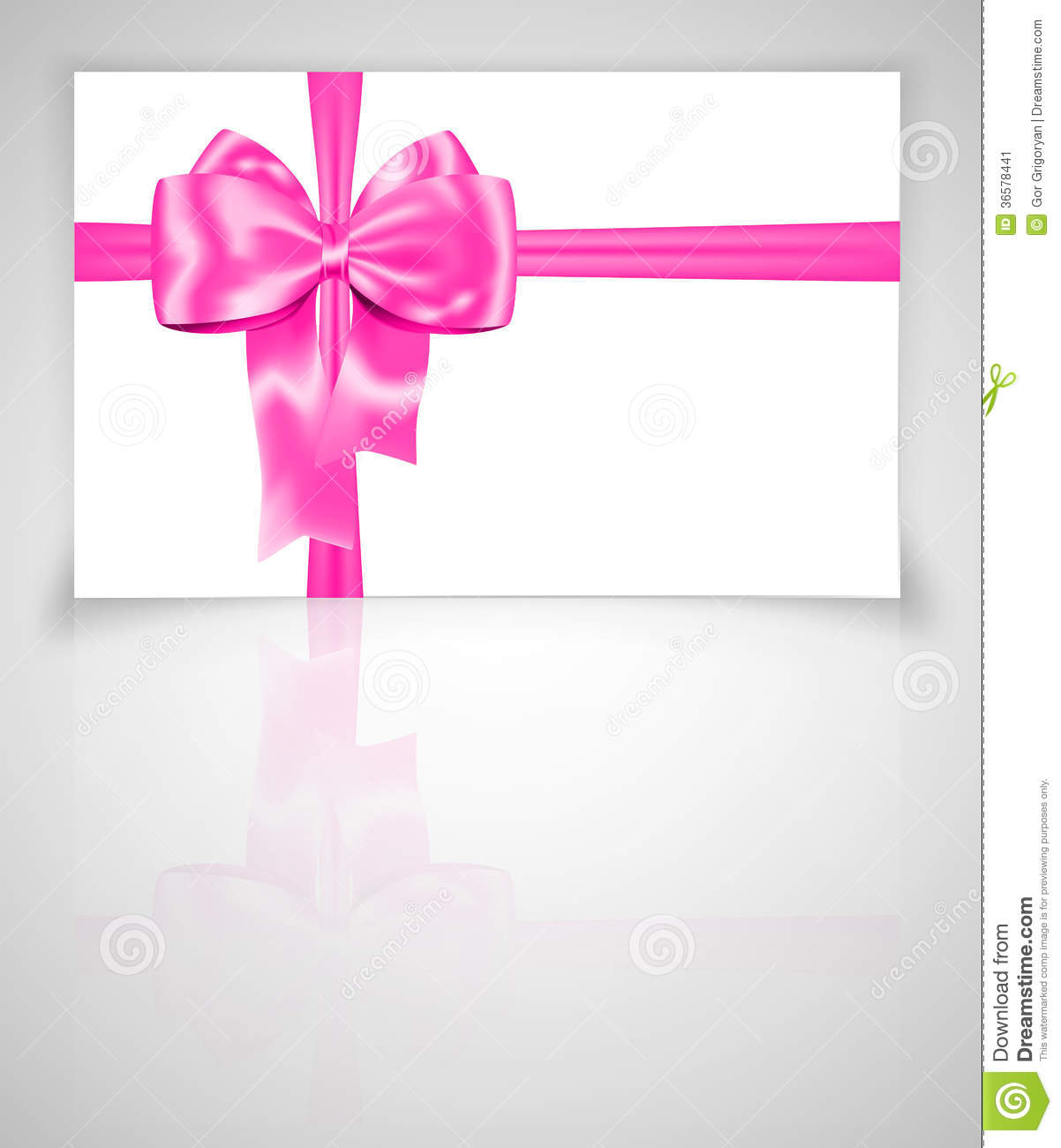 Gift Card With Pink Ribbon Stock Image Image 36578441