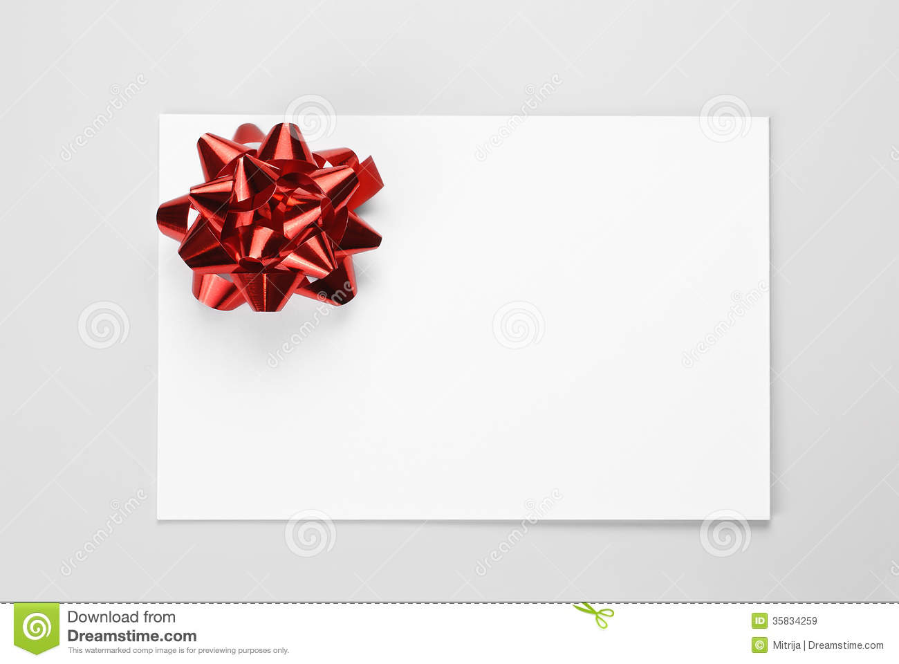 Gift Card With Red Bow Stock Image Image Of Xmas Present 35834259