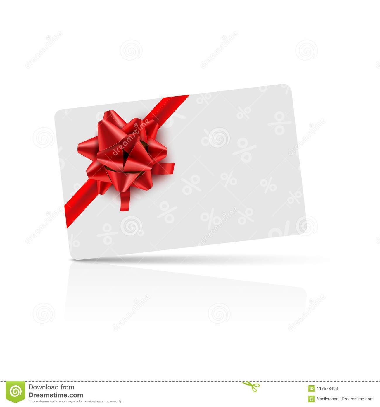 Gift card with red bow and ribbon. Coupon gift card celebration design. Holiday vector card