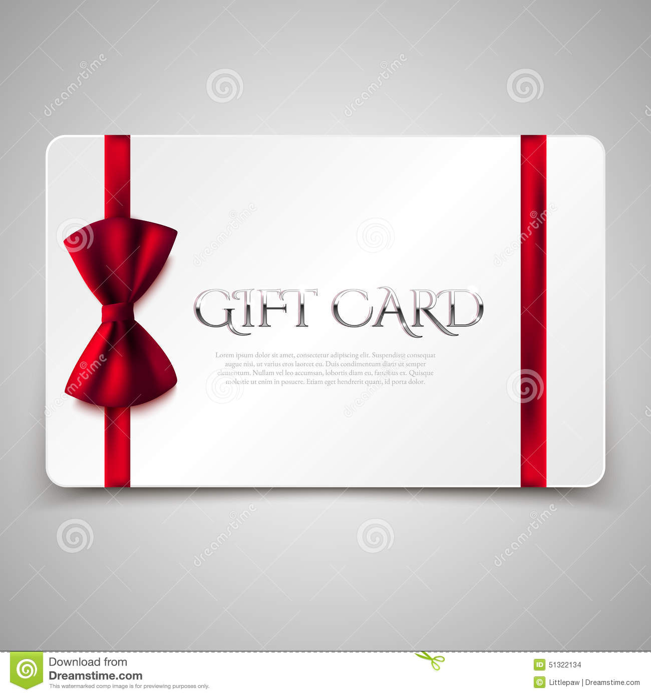 Gift Card With Red Bow Stock Vector. Illustration Of