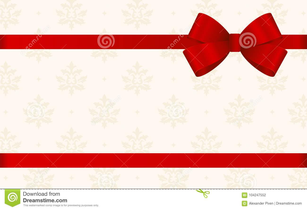 Gift Card With Red Ribbon And A Bow On Beige Background Voucher Template