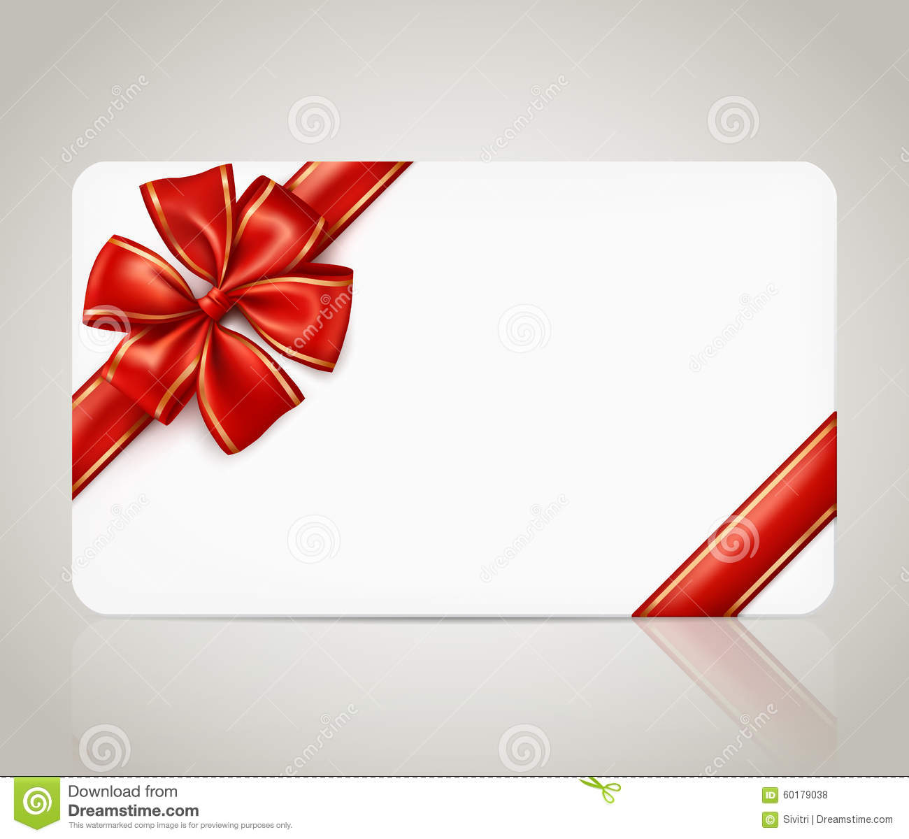 Charming Gift Card With Red Ribbon Bow