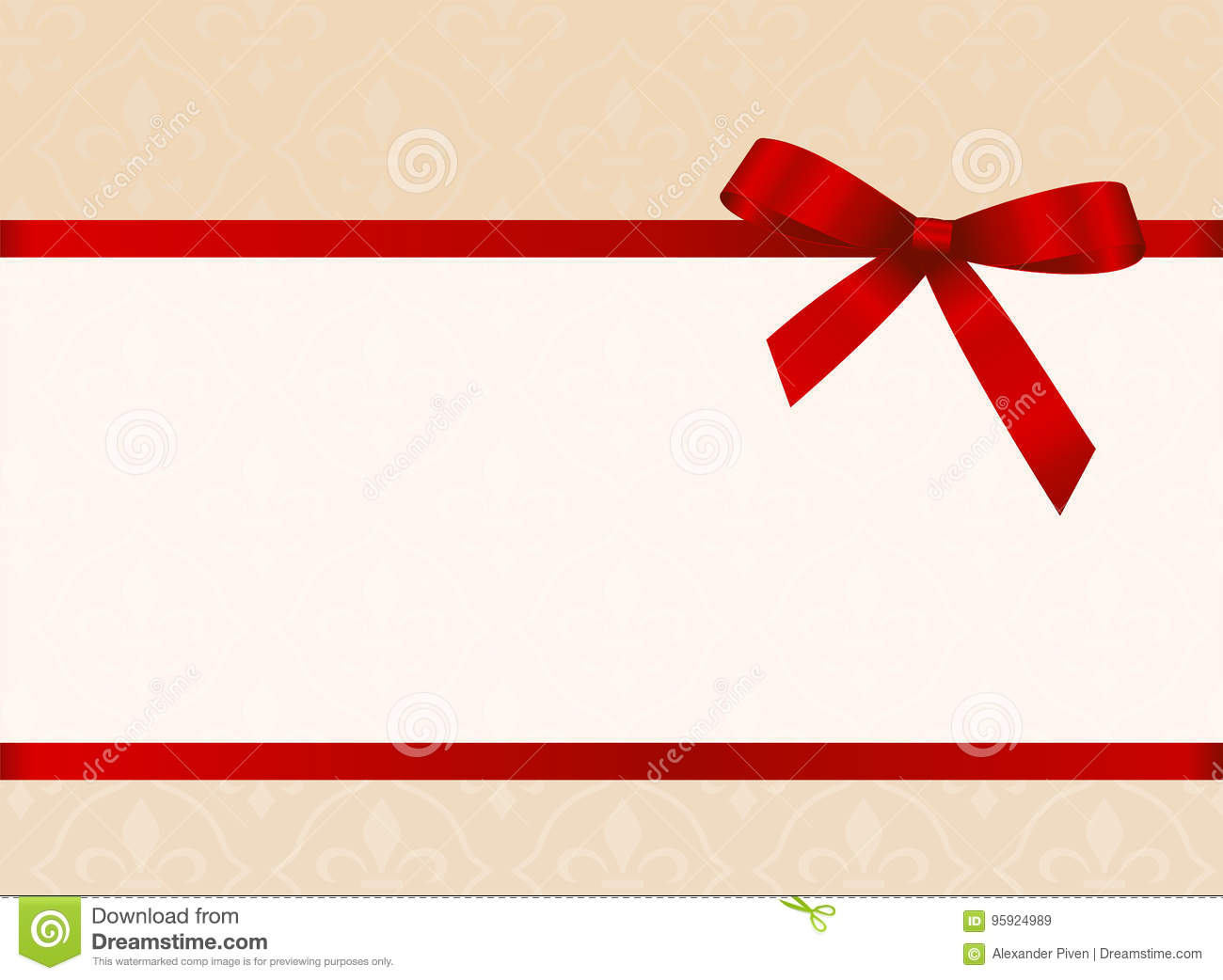 Gift card with red ribbon and a bow invitation vector image gift card with red ribbon and a bow invitation vector image fabric paper stopboris Gallery