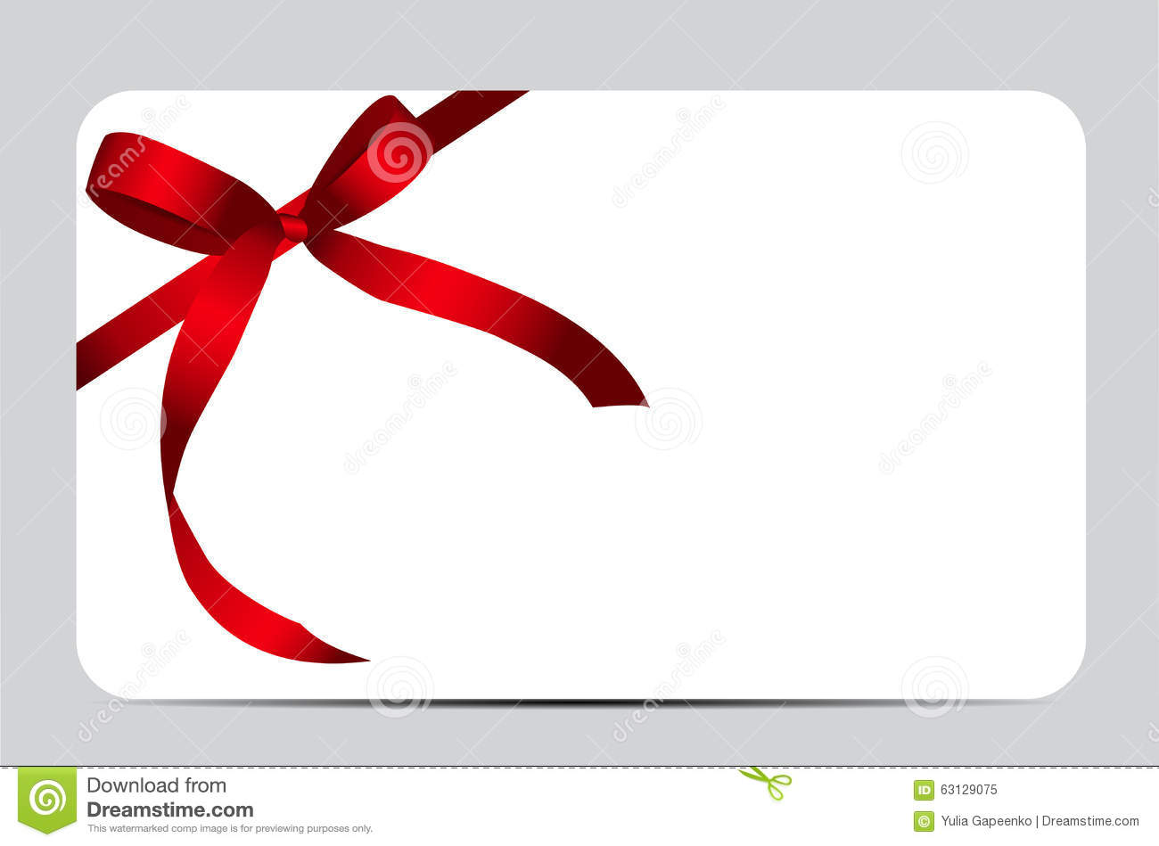 Gift Card With Red Ribbon And Bow Vector Stock Vector
