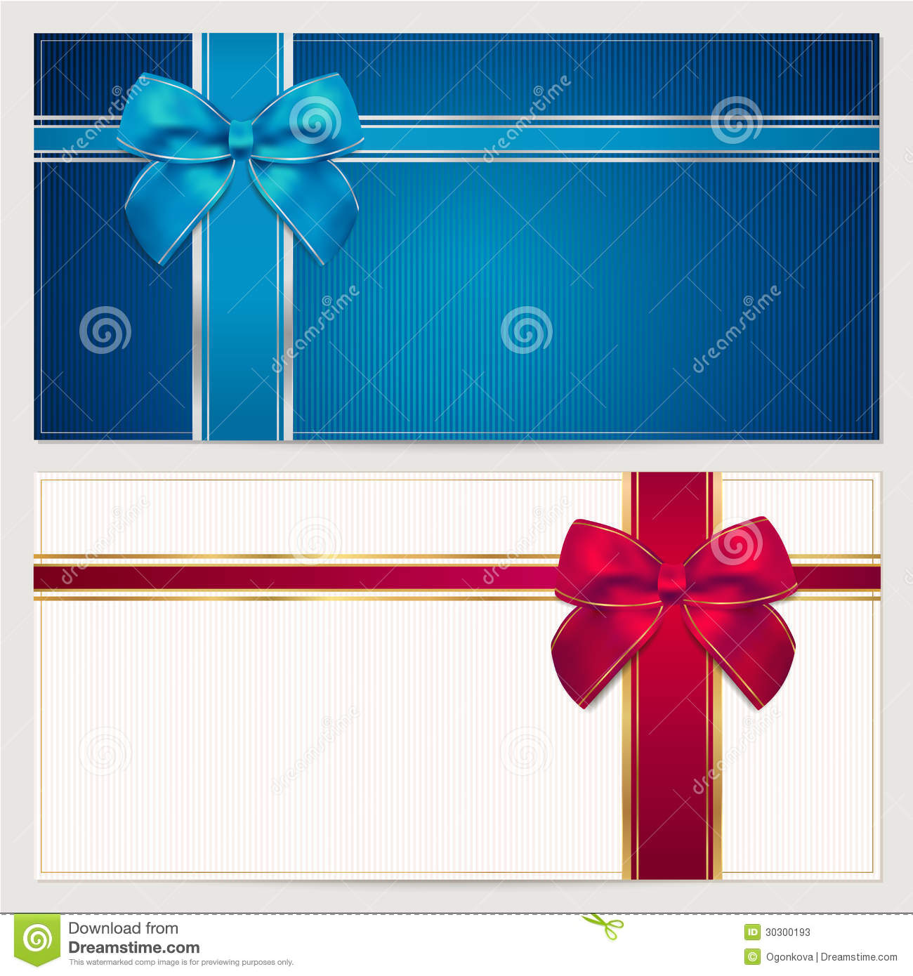 gift voucher    coupon template  bow  ribbons  stock photos