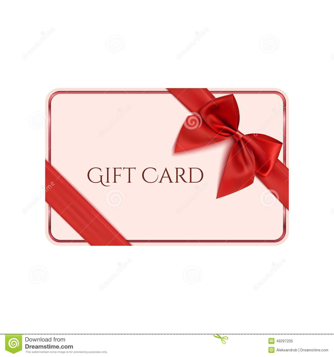 Gift Card Template With Red Ribbon And A Bow Stock Vector