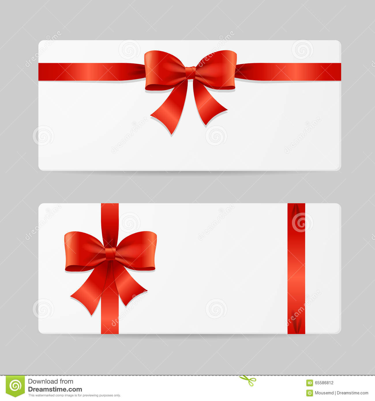 Gift Card Template With Ribbon Vector Stock Vector Illustration