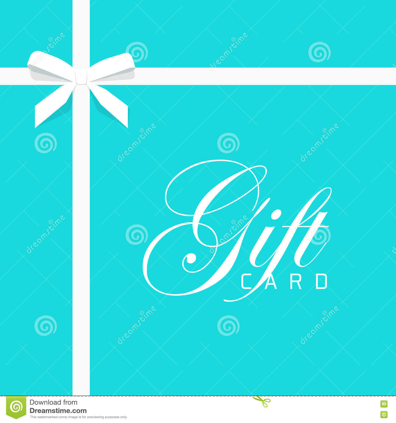 Gift Card Vector Illustration On Blue Bow With White Ribbon Stock