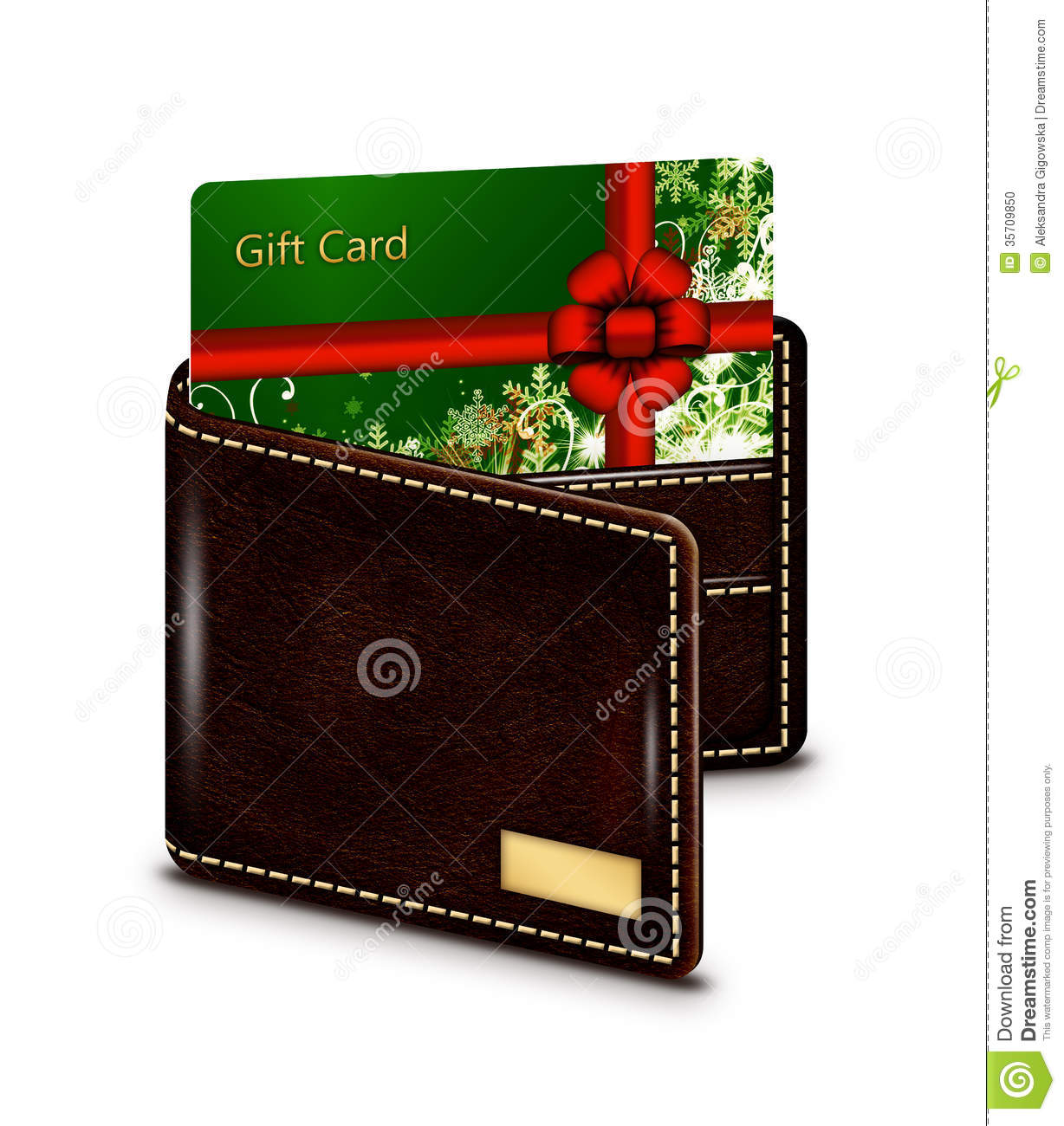 gift card in wallet over white background stock photo