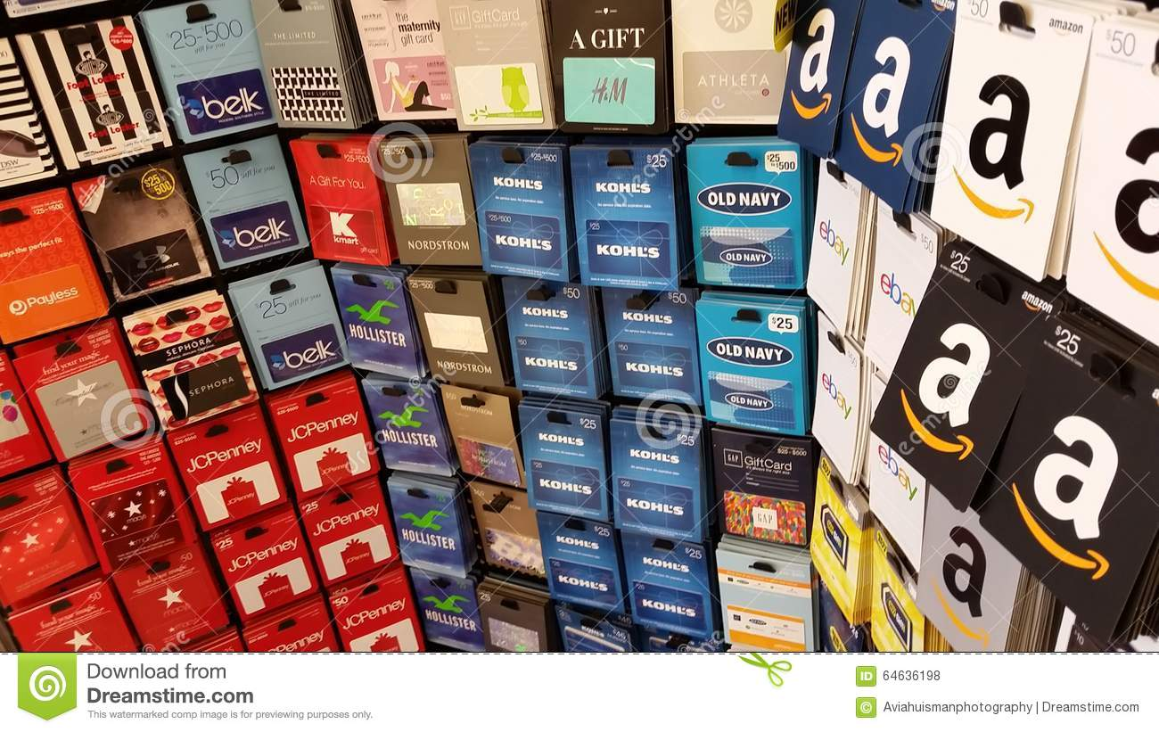 Gift Cards: Amazon, Old Navy, Macys, Kmart And More Editorial Stock ...