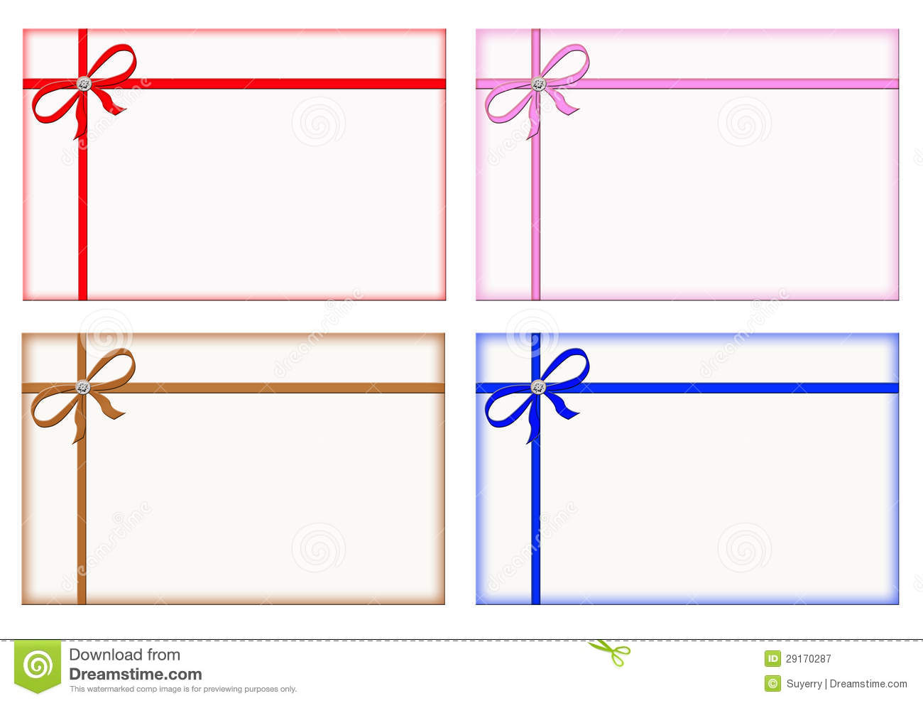 Gift Cards With Colored Ribbons, Note Card, Set Royalty Free Stock ...