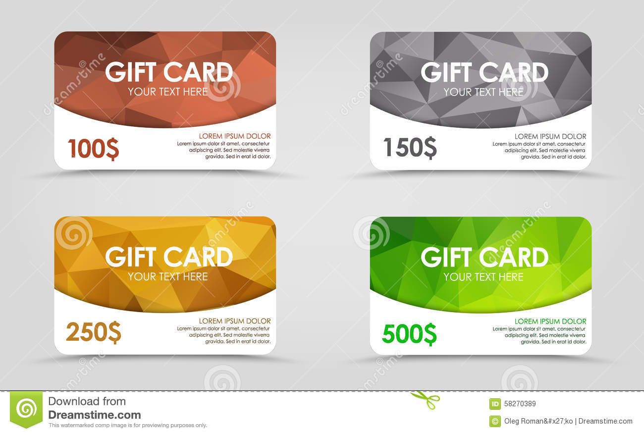 Gift Cards Polygonal Background Stock Vector - Image: 58270389