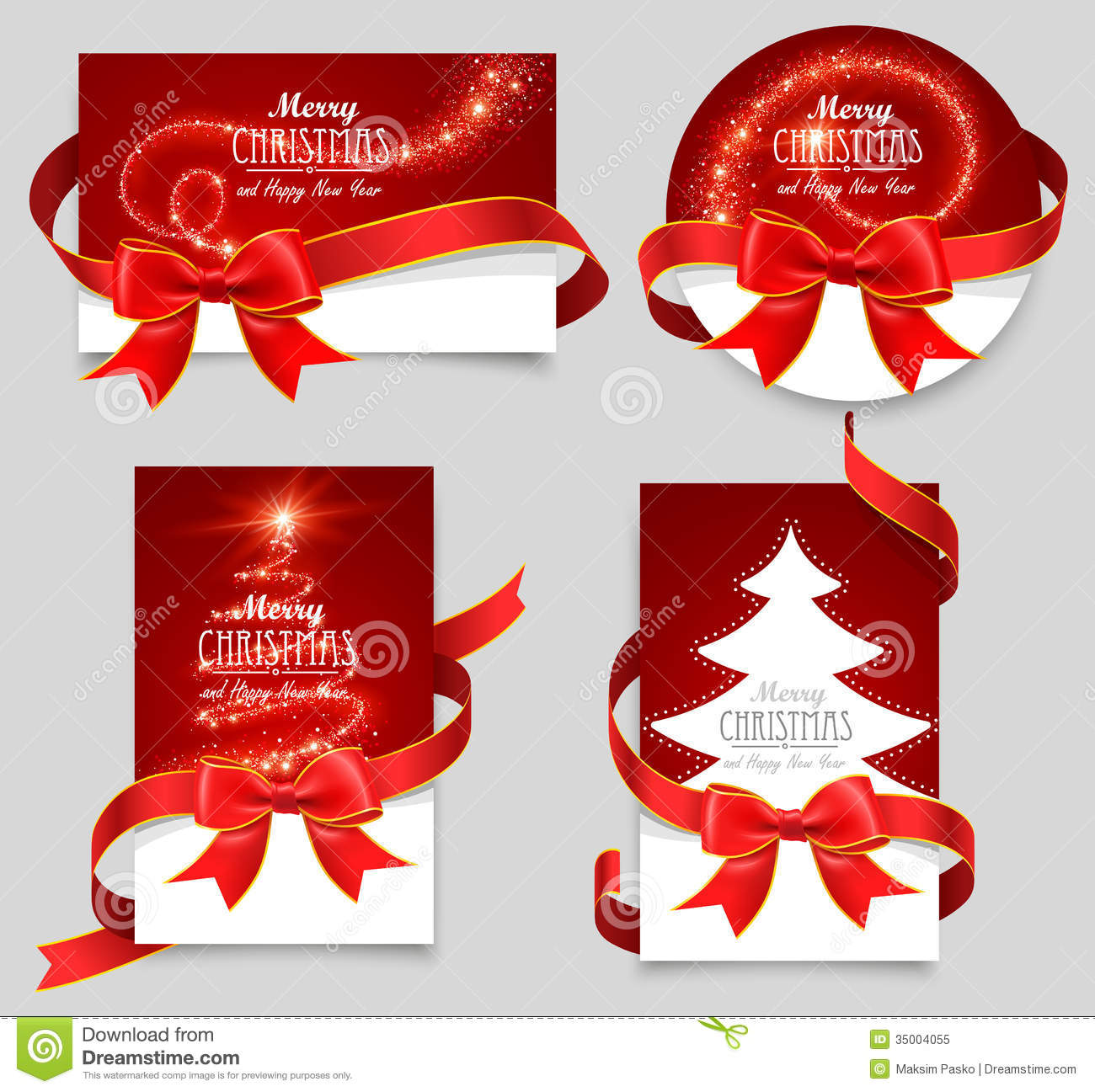 Gift cards with red bows stock vector. Illustration of background  35004055