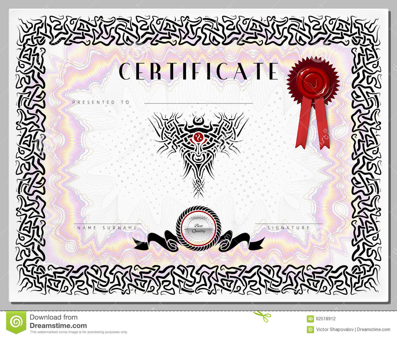 gift certificate    diploma    award template with celtic