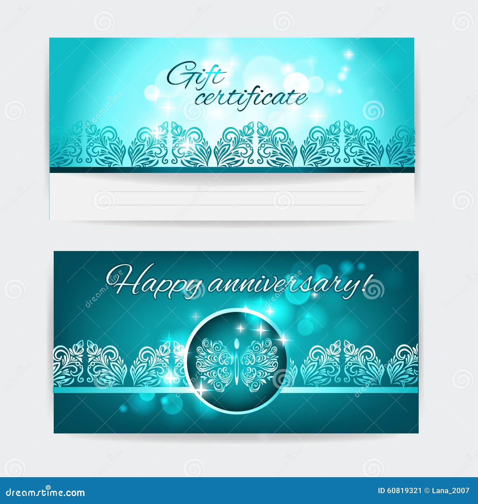 gift certificate floral design vector print template cartoon vector 60819321. Black Bedroom Furniture Sets. Home Design Ideas
