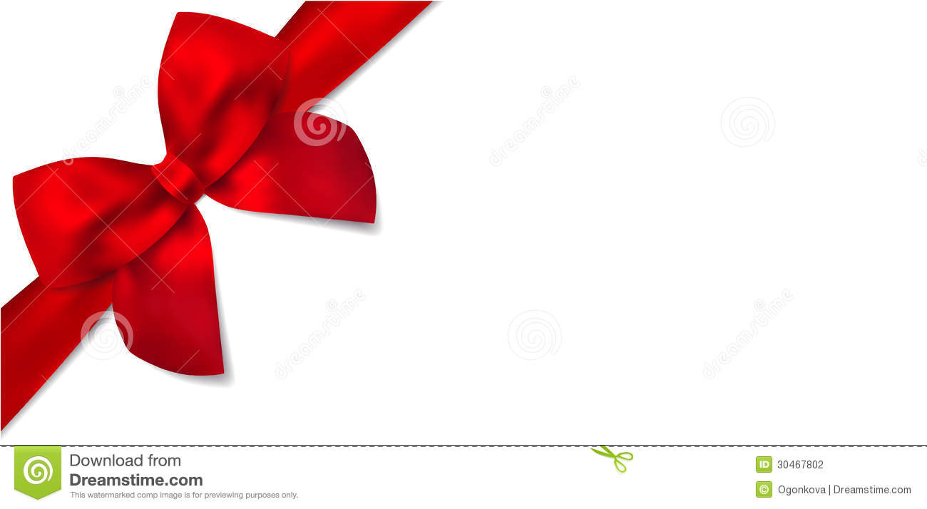 Gift certificate with Gift red bow (ribbons). This design usable for ...