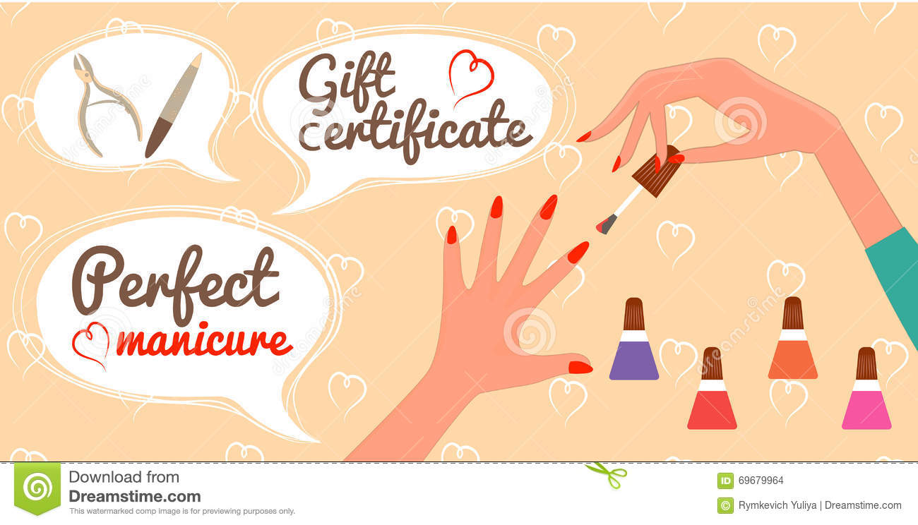 Gift Certificate Perfect Manicure Nail Salon Stock Vector - Nail salon gift certificate template