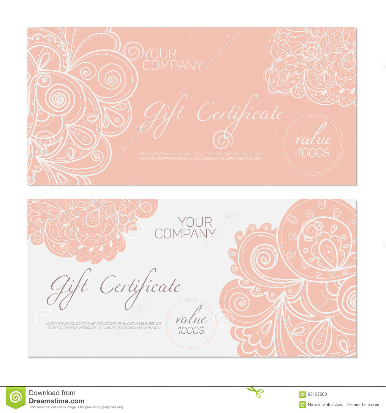 gift certificate pink stock vector  image of coupon