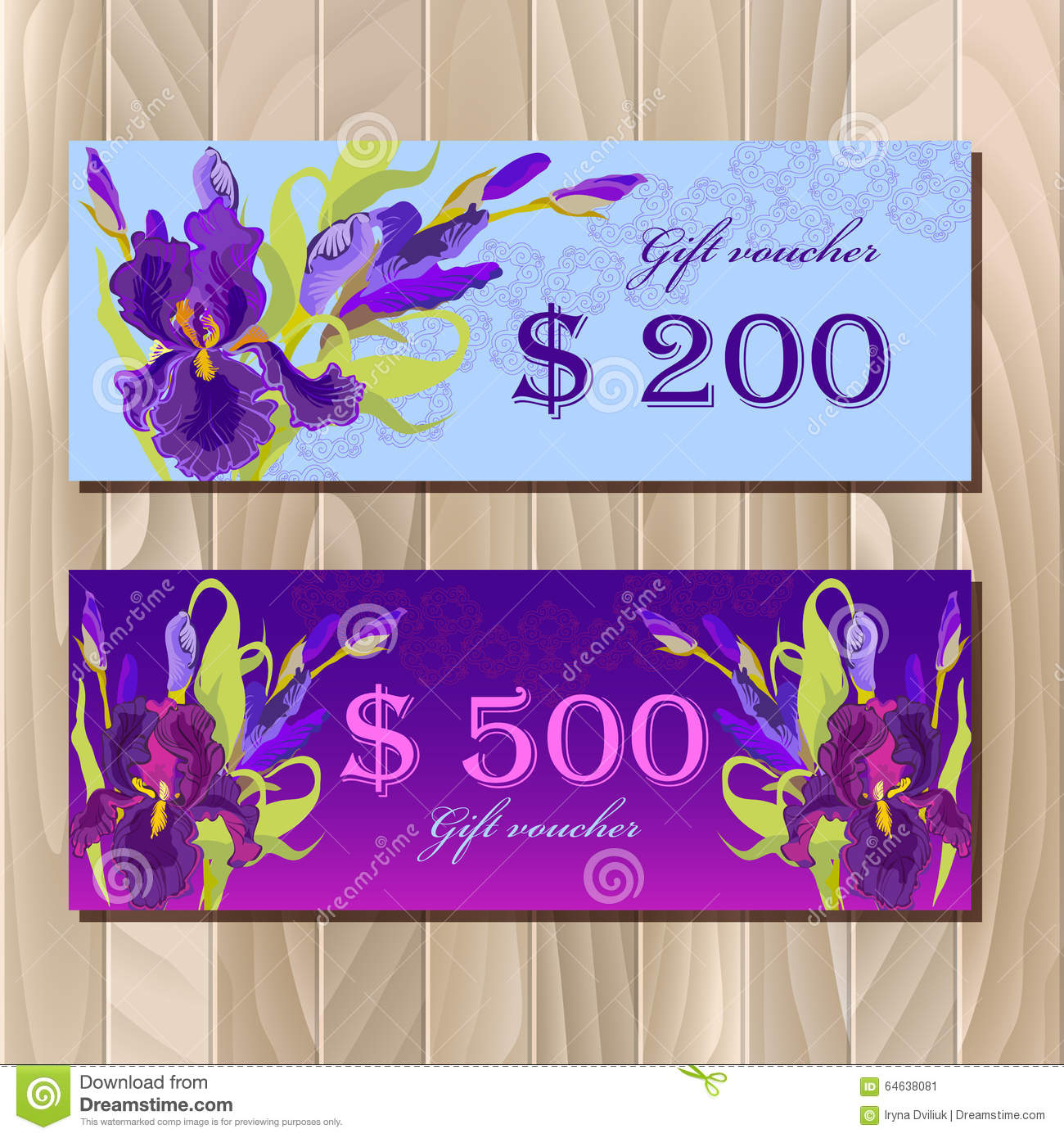 gift certificate printable card template with purple iris flower design stock vector. Black Bedroom Furniture Sets. Home Design Ideas