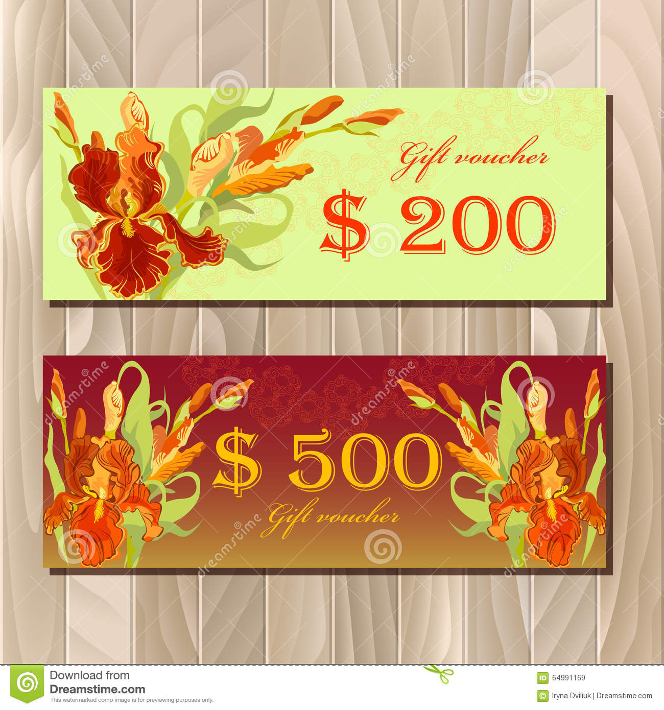 gift certificate printable card template with red iris flower design