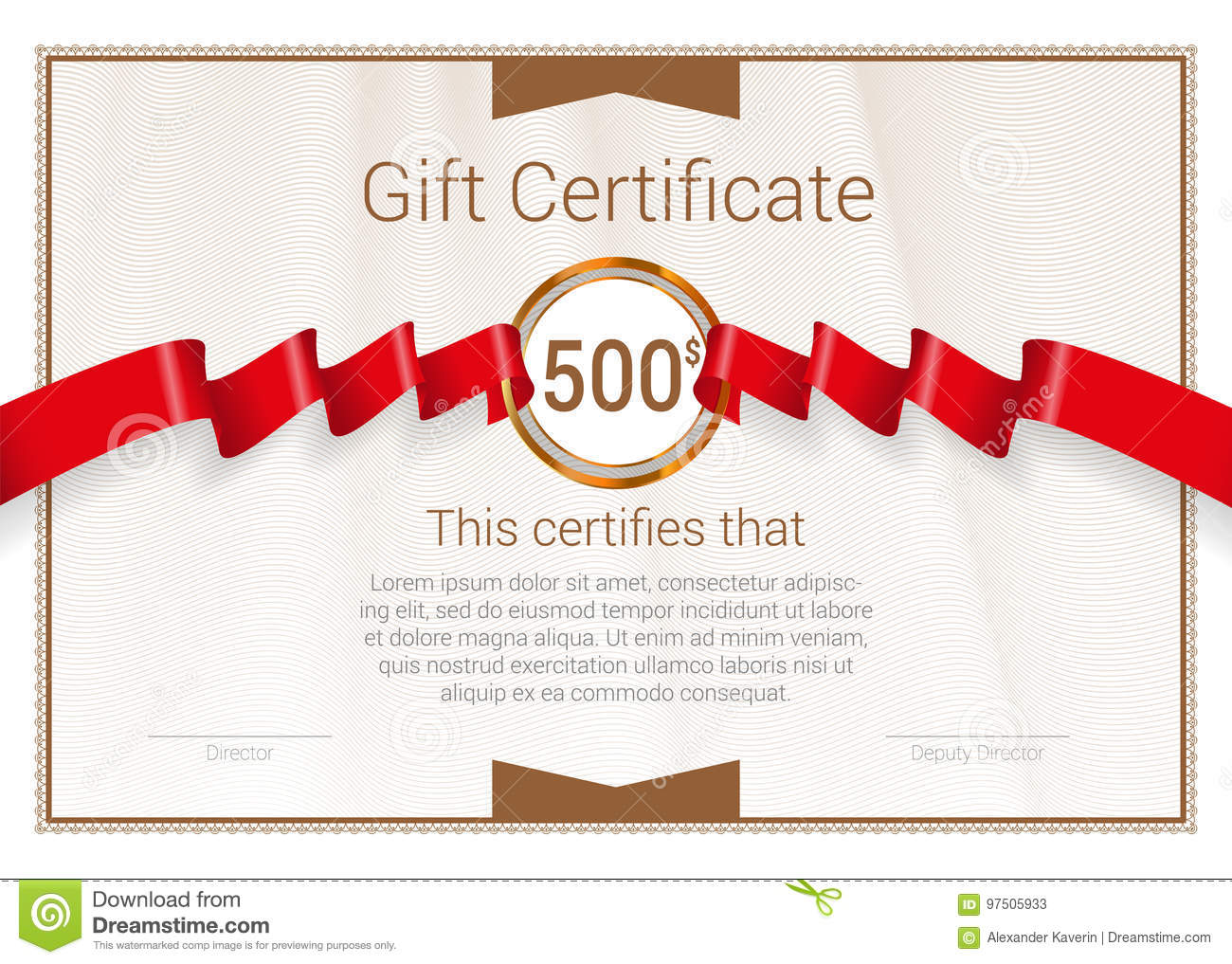 gift certificate with red award ribbon vector template stock vector