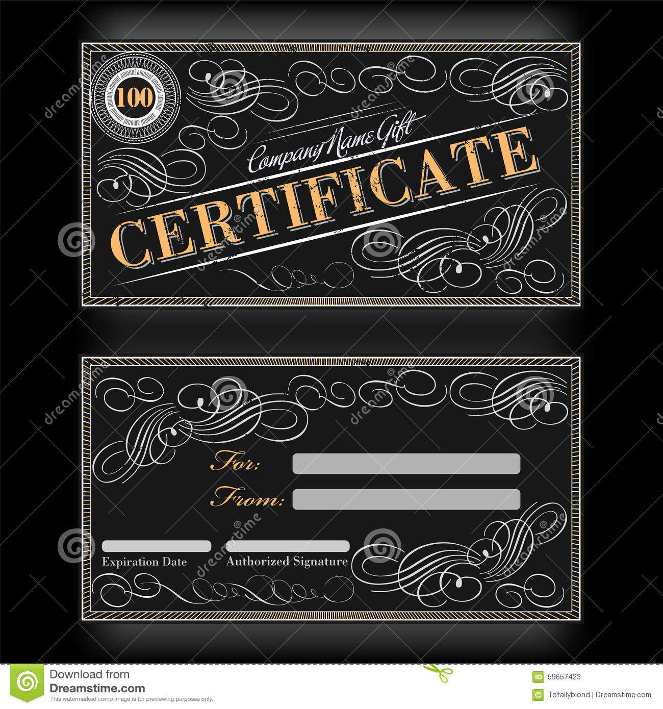 Gift certificate template black floral design stock vector for Calligraphy certificate templates