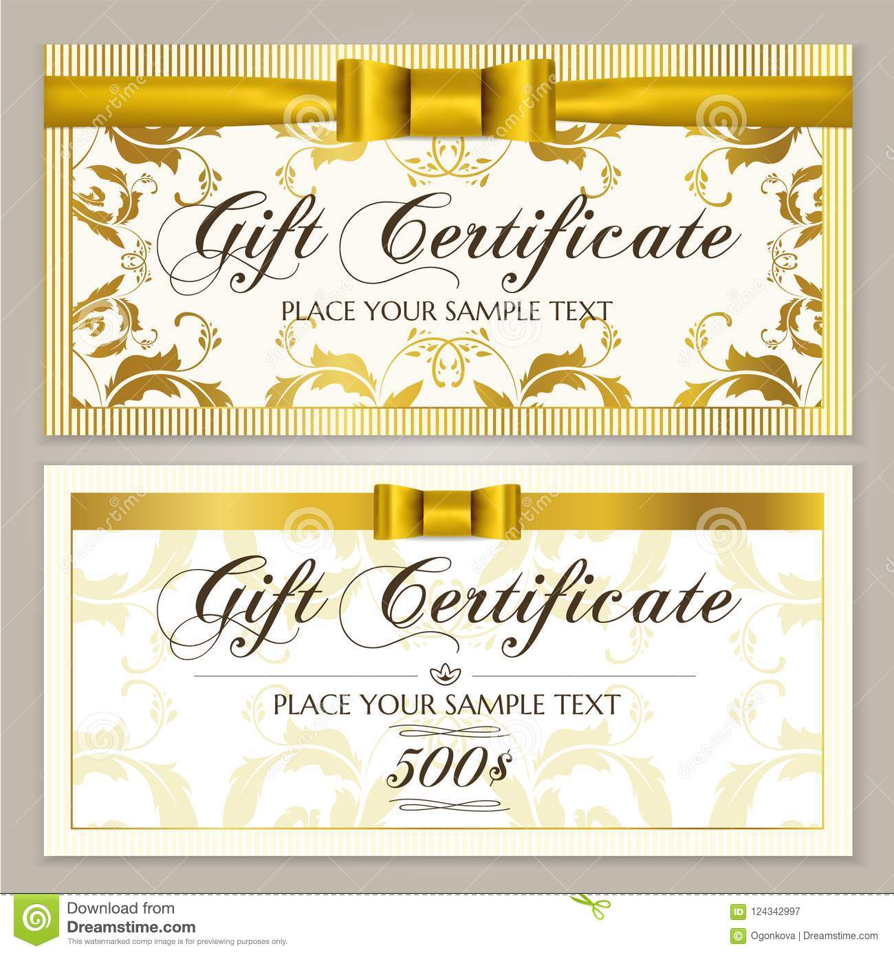 Gift Certificate Template Gift Voucher Layout Coupon Template Stock